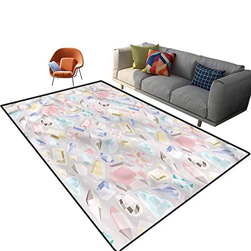 Indoor Room Pastel Area Rugs,6'x 9',Colorful Vivid Figures Floor Rectangle Rug with Non Slip Backing for Entryway Living Room Bedroom Kids Nursery Sofa Home Decor