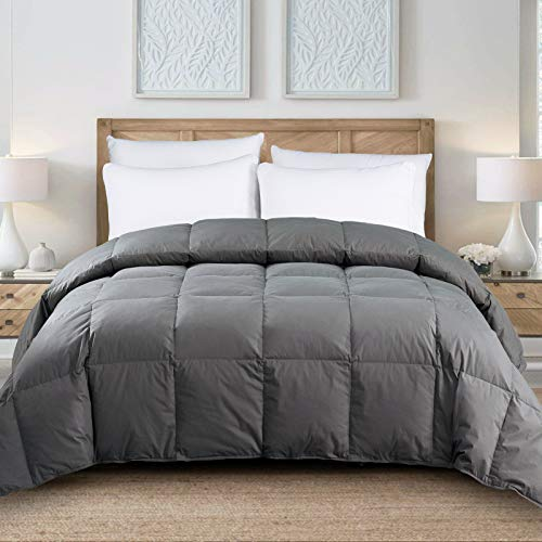 Yalamila Oversized Queen Grey Down Comforter with 100% Cotton Cover-Premium Quality White Goose Duck Down and Feather Filling-All Season Down Duver Insert or Stand Alone-Oversize Queen (98×98 inch)