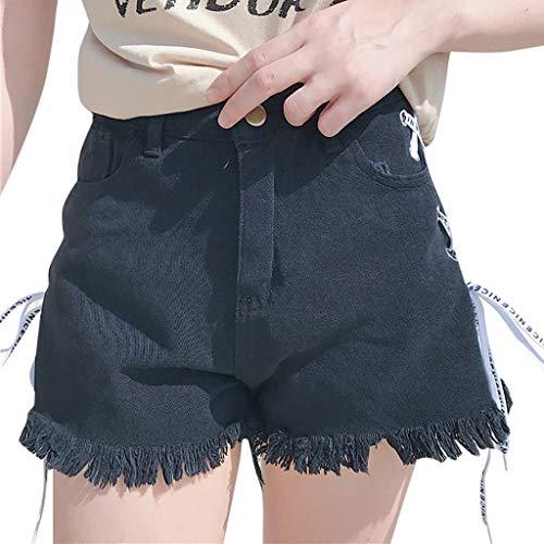 TOPUNDER Summer Women Summer Bandage Denim Shorts Pants Tassel Wide-Leg Trousers Jeans