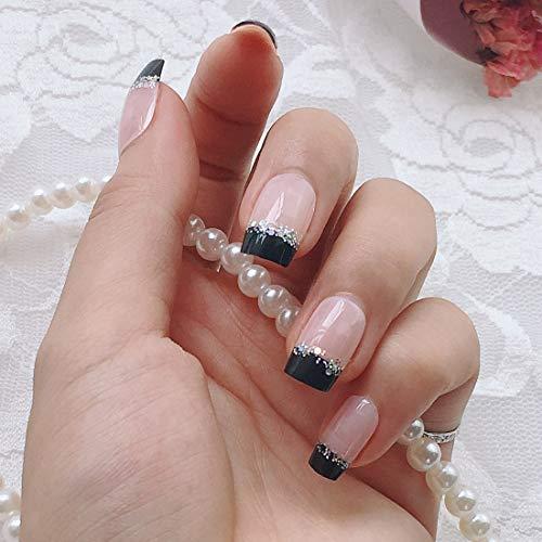 French Fake Nail Nude Nails mit Schwarz und Glitzer Top Künstliche Nägel für tägliche Tragen Mittel-Long-Size-Nägel