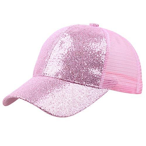 L_Stars Gorra de Béisbol de Malla Ajustable para Hombre y Mujer Sombrero de Sol de Lentejuelas Unisex Adulto