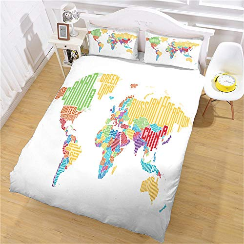 QNZOR Duvet Cover Sets Pillowcases Bedding Double map Print Polyester Breathable 2 pillowcases with Zipper Boys Girls Home Decoration 78.74 x 78.74 inch