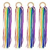 4 Stück Regenbogen Handglocken mit Quasten Bänder Rasseln Glocken Kleinkind Holzring Spielzeug Beißring Rasseln Greifens Lernspielzeug, Kinder Baby Party Geschenke