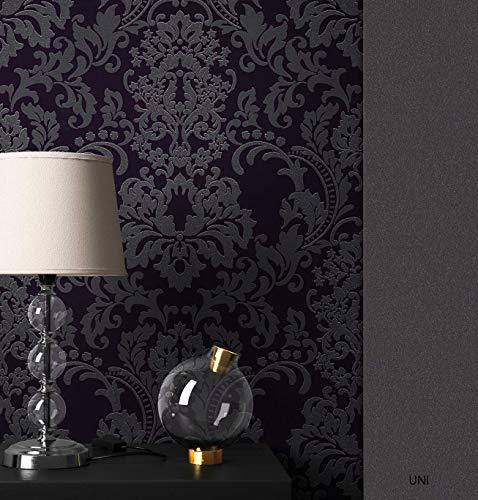 NEWROOM Barocktapete Tapete Schwarz Ornament Barock Vliestapete Vlies Glitzer Glänzend moderne Design Optik Barocktapete Wohnzimmer Glamour inkl. Tapezier Ratgeber