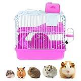 Hamsters y pequeños roedores Jaula, la Jaula de hámster con Fuente alimentaria, Hervidor, Rueda Corriente, Pequeños Animales Mini Hamster Jaula Hábitat Tanque,Rosado