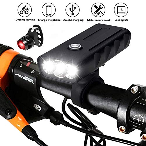 USB Rechargeable Bicycle Front Light and Tail Light Set, Super Bright 3 LED 6000 Lumens Bike Headlight Waterproof Bike Lights Night Cycle Safety Flashlight for Mountain Road Cycling, Riding