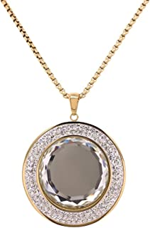 Bevilles Yellow Stainless Steel Crystal Necklace Pendant