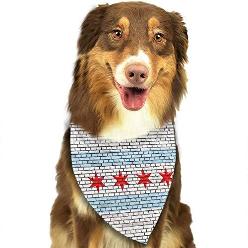Gxdchfj Chicago Flag Pattern Fashion Dog Bandana Bibs Scarf Pet Dog Cat Dog Scarf