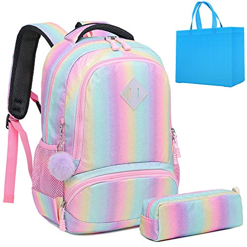 Girls Rainbow Glitter Backpack Cute Kids Preschool Backpack kindergarten School Bag Daypack Gift Backpack (Bling)