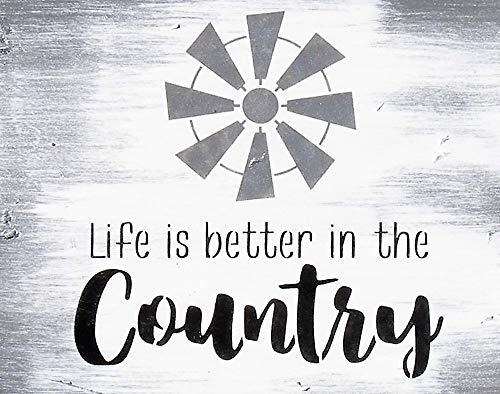Ced454sy leven is beter in het land rustieke wit zwart hout teken land boerderij windmolen citaat teken rustiek grijs zwart wit land schilderij