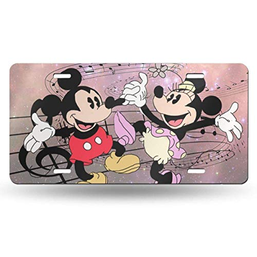 Suzanne Betty Aluminum License Plates - Mickey and Minnie Dancing with Music License Plate Tag Car Accessories 12 X 6 Inches
