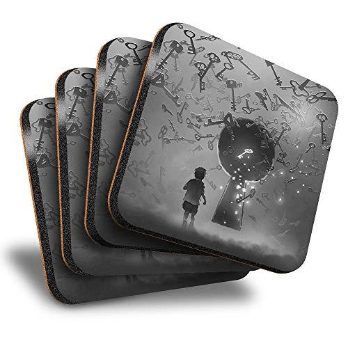 Destination Vinyl ltd Great Posavasos (juego de 4) cuadrados – BW – Fantasy Portal Lock Keys Drink brillante posavasos / protección de mesa para cualquier tipo de mesa #35944
