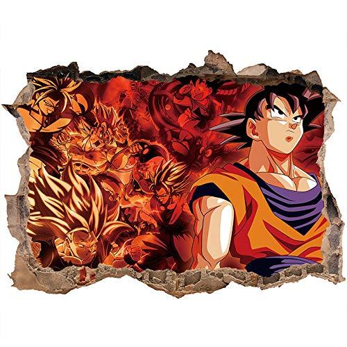 Nensuo 3D Dragon Ball Wall Decal Dragon Ball Goku Etiqueta de la Pared decoración Pegatina Vinilo Dragon Ball Z niños Anime Wall Art Sticker Autoadhesivo impermeable-80 * 120CM-B_60*90CM