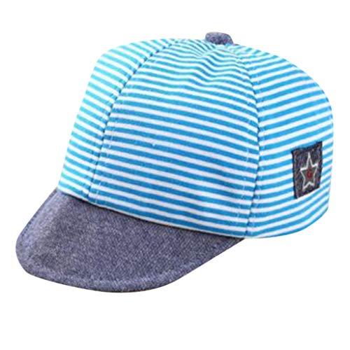 Louyihon-Kleidung Kindercap Kleinkind-Baby Jungen Netter Buchstabe weiche Dachgesimse Baseballmütze Sun Barett Hut gestreift für Schule, Reise, das Klettern, Reiten, tägliches Tragen(Himmelblau)
