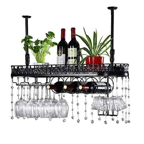 Percha de vidrio de vino, boca abajo, hierro forjado, uso doméstico, soporte de cubierta de barra de barras, colgando adornos de suspensión decorativa, cadena colgante de cristal (Color : Black)
