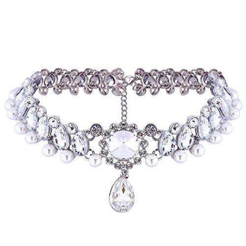 YAZILIND Bride Frauen Schmuck Inlay Strass-Perlen-Kristall Charme justierbare Kette Halskette