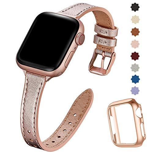 SUNFWR Compatible con correa de reloj Apple de 38 mm, 40 mm, 42 mm, 44 mm, correa de piel auténtica, pulsera delgada y delgada para iWatch Series 6/5/4/3/2/1, SE (42 mm, 44 mm, rosa y rosa).