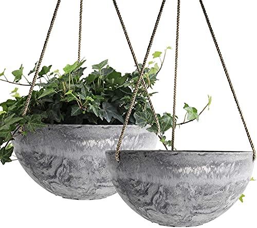 RRUUGK Pot de Fleur Suspendu 25cm Plantes intérieures-Pot de Fleur d extérieur 25cm Jardin Pots de Fleurs et Pots de Fleurs (Motif de marbre) (Couleur : Marble Pattern)