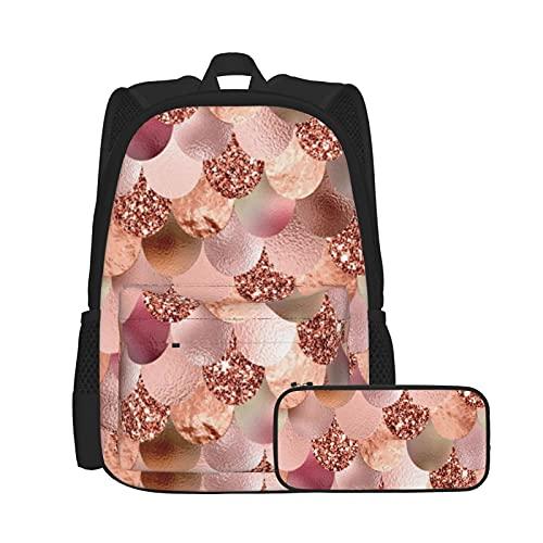 Asual - Mochila y estuche para lápices, combinación, mochila de trabajo y estudio y bolsa de cosméticos combinada, básculas femeninas de oro rosa brillante cobre