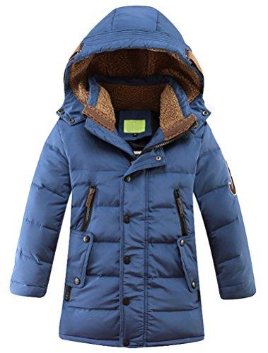 Vogstyle Jungen Winterjacke mit Kapuze Jacken Blouson Kinder Kapuzenparka Warm Blouson Wintermantel, Blau, 120-130 (Herstellergröße: 130)