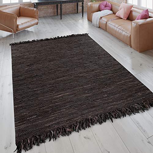 Paco Home Alfombra Tejida A Mano con Flecos De Moda Rayas De Cuero Auténtico En Marrón, tamaño:160x230 cm