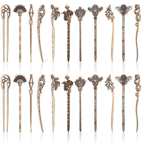 Duufin 22 Pieces Hair Sticks Vintage Bronze Chinese Hair Chopstick Retro Hair Fork for Women