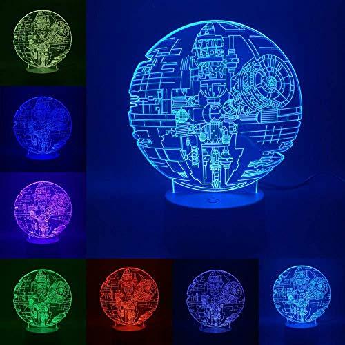 YOUPING Luz nocturna 3D ilusión lámpara creativa Star Wars 7 colores interruptor táctil operado por USB, luz nocturna para niños niños niñas cumpleaños Navidad decoración regalo