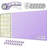 Honey's Heaven 45 mm Rollschneider Stoffschneider Set inkl. Schneideunterlage, Ersatzklingen, Stoffklammern, Patchwork-Lineal (Lavendel, Schneidematte im A3-Format)