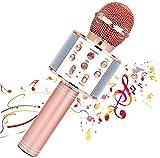 Micrófono inalámbrico Karaok, 4 en 1 máquina portátil de karaoke con altavoz portátil Bluetooth, reproductor KTV doméstico con función de grabación (ROSE GOLD)