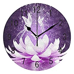 ALAZA Home Decor Purple Lotus Flower Butterfly Round Acrylic 9.5 Inch Wall Clock Non Ticking Silent Clock Art for Living Room Kitchen Bedroom