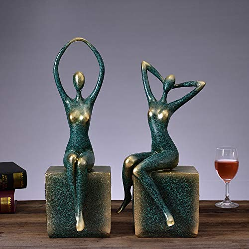 MSF Een paar Wijn Rek Sieraden Yoga Hars Sculptuur Meubilair Decoratie Sieraden Decoratie, Woonkamer Kast Ambachten Gift 3 Kleur Optioneel