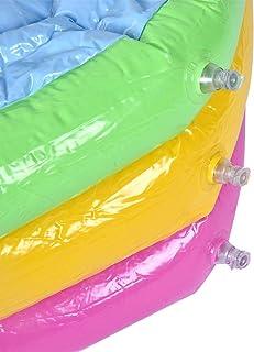 Piscina 3 aros bebé Piscina Redonda de Tres capas de Arco Iris Juguete Inflable Portátil Piscina Infantil Redonda(90cm)