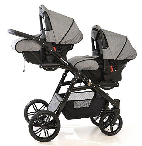 Kinderwagen Geschwisterwagen. 2 Buggy + 2 Babyschalen. Grau
