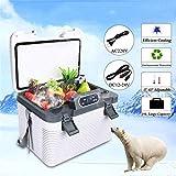 19L Car Refrigerator Freeze heating DC12-24V AC220V Mini Refrigerator Car refrigerator compressor cooler box Freezer box Car Home Picnic Refrigeration heating -5~65 Degrees White