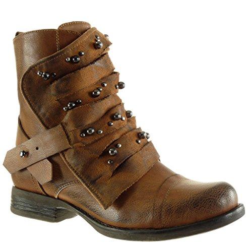 Angkorly - Damen Schuhe Stiefeletten - Biker - Reitstiefel - Kavalier - Multi-Zaum - Perle - Nieten...