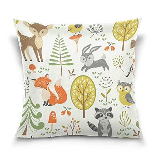 Throw Pillow Case Decorative Cushion Cover Square Pillowcase, Summer Forest Deer Fox Rabbit Owl Sofa Bed Pillow Case Cover(18x18inch) Twin Sides