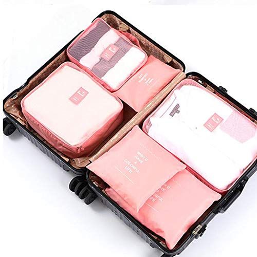LLKK Organizadores de Viaje para Maletas,Cubos de Embalaje de Viaje,Bolsa de Almacenamiento de Equipaje de Tela Oxford de Gran Capacidad,a Prueba de Polvo,de Seis Piezas