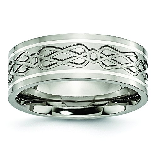 Mens 8mm Titanium and Sterling Silver Celtic Knot Inlay Flat Wedding Band Ring Size 10.5