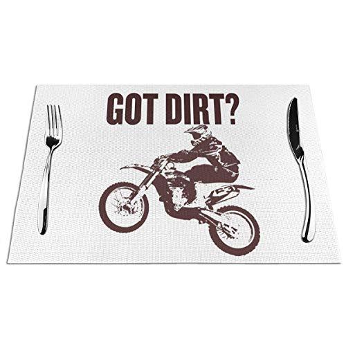 N / A Küche Platzset,Hitzebeständig Tischmatten,Restaurant Platz-Matten Für Küche,Hochwertige Platzmatten,Got Dirt Bike Motorcross Racing Esstischmatten Klassische Tischsets 6Er-Set