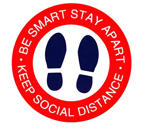 B.SMART Social Distancing Floor Decals. Pack of 10 Safety Floor Covid-19 | Coronavirus Signs for Queues. 12' Round Shape, BE Smart-Stay Apart, RED-White-Blue Notice Floor | Anti-Slip Bullets Marker!