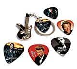 Johnny Hallyday Mini Guitar Keyring Porte-clés & 5 X Guitar médiators guitare