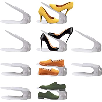 goodmoon 靴 収納 靴ホルダー シューズホルダー 10個入り 4段階高さ調整 省スペース 【 全6色 】 (ホワイト)