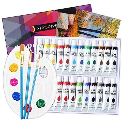 ZOYJITU 30 teiliges Set Acrylfarben-Set, 24 Tuben à 12 ml Acrylfarbe, perfekt für Leinwand, Stein, Holz, Stoff, sehr gut geeignet für Anfänger, Künstler-Acrylfarben