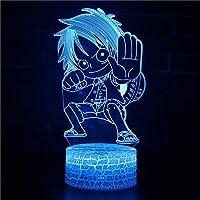 3Dイリュージョンナイトライト アニメ少年 溶岩亀裂ベース 3Dランプオプティカル7色段階的に変化する子供用LEDライトスマートタッチベッドサイドランプベッドルーム男の子用ホームデコレーションクリスマスギフト