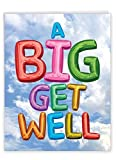NobleWorks - Jumbo Get Well Greeting Card (8.5 x 11 Inch) - Beautiful Feel Better Soon, Group Notecard - Inflated Messages From Us J5651FGWG-US