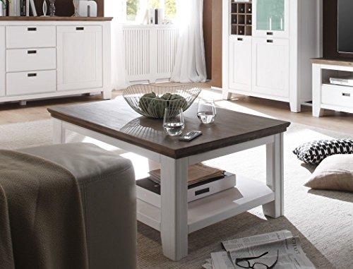 expendio Couchtisch Barnelund 110x70x45 cm Akazie weiß Sofatisch Tisch Wohnzimmer Wohnzimmertisch Landhausmöbel