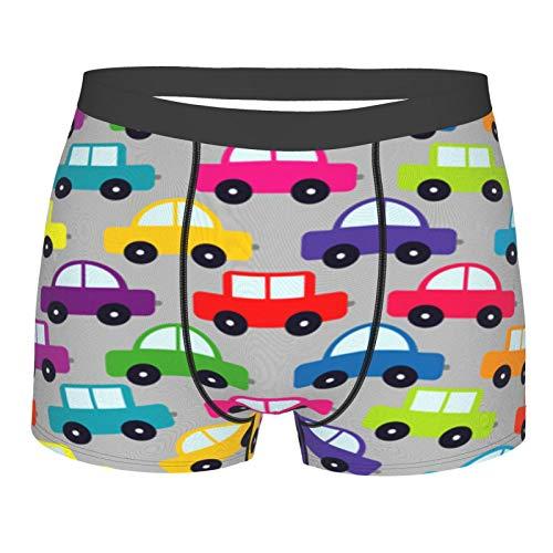 Popsastaresa Männerunterwäsche,Cartoon-Autos, Boxershorts Atmungsaktive Komfortunterhose Größe L