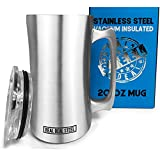 Stainless Steel Insulated Beer Mug: Real Deal Steel 20 Oz Beer Stein with Welded Handle and Clear Plastic Lid - Large Metal Tankard for IPA, Coffee, Tea - Double Walled Mugs for Hot or Cold Drinks (1)