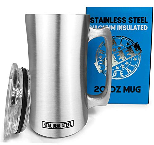Stainless Steel Insulated Beer Mug: Real Deal Steel 20 Oz Beer Stein with Welded Handle and Clear Plastic Lid  Large Metal Tankard for IPA Coffee Tea  Double Walled Mugs for Hot or Cold Drinks 1