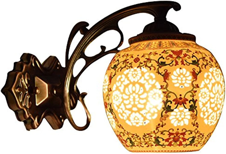 Europische Metallwandleuchten, Vintage LED Keramik Muster Dekorative Hngende Lampe Wandleuchte Antike Kreative Wohnzimmer Flur Esstisch Wandlampen